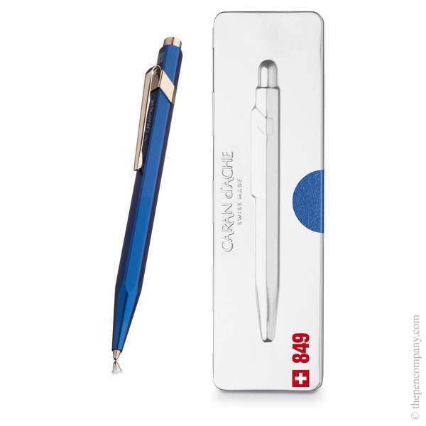 Blue Caran d'Ache 849 Metal-X Pop Line Ballpoint Pen
