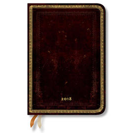 Midi Paperblanks Old Leather 2018 Diary Black Moroccan Vertical Week-to-View - 1