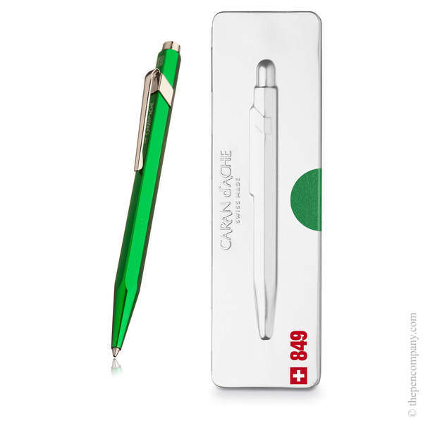 Green Caran d Ache 849 Metal-X Pop Line Ballpoint Pen
