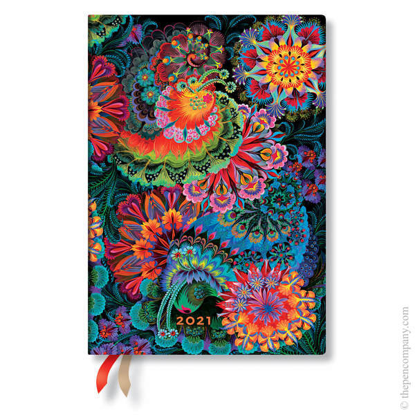 Midi Paperblanks Olenas Garden 2021 Diary 2021 Diary Moonlight Verso Week-to-View