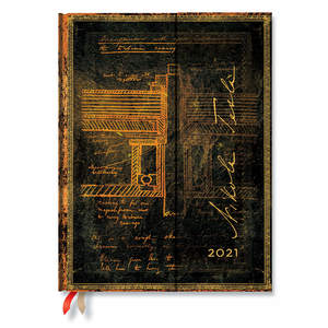 Paperblanks Tesla, Sketch of a Turbine Embellished Manuscripts 2021 Diary Ultra