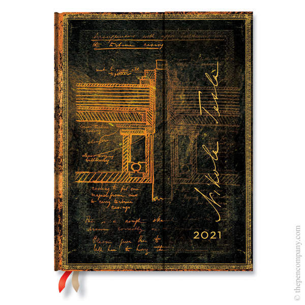 Ultra Paperblanks Embellished Manuscripts 2021 Diary 2021 Diary Tesla, Sketch of a Turbine Horizontal Week-to-View