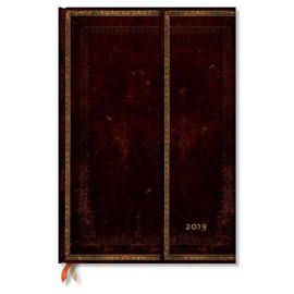 Grande Paperblanks Old Leather 2019 Diary Black Moroccan Vertical Week-to-View - 1