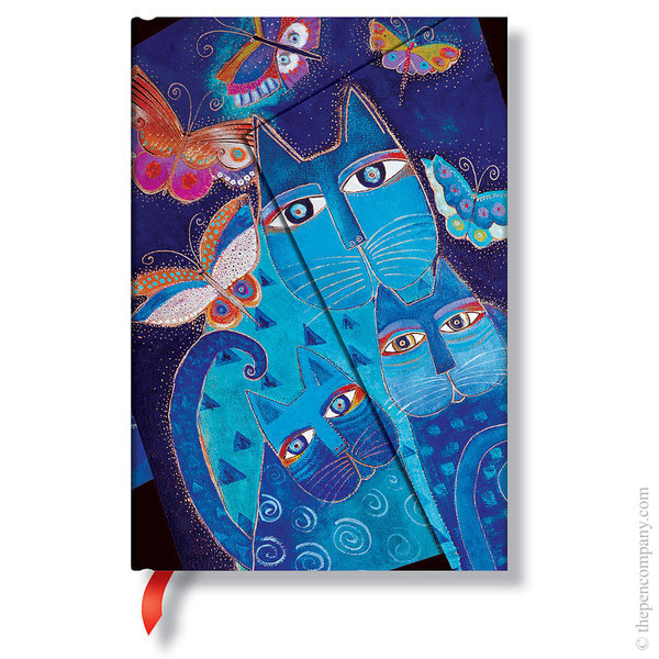 Mini Paperblanks Laurel Burch - Fantastic Felines Journal Blue Cats & Butterflies Lined