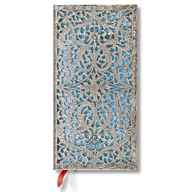 Slim Paperblanks Silver Filigree 2018 Diary Maya Blue Horizontal Week-to-View - 1