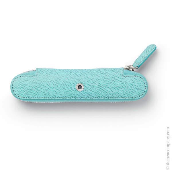 Turquoise Graf von Faber-Castell Epsom Zipper Pen Case for One
