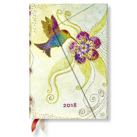 Mini Paperblanks Laurel Burch Whimsical Creations 2018 Diary Hummingbird Horizontal Week-to-View - 1