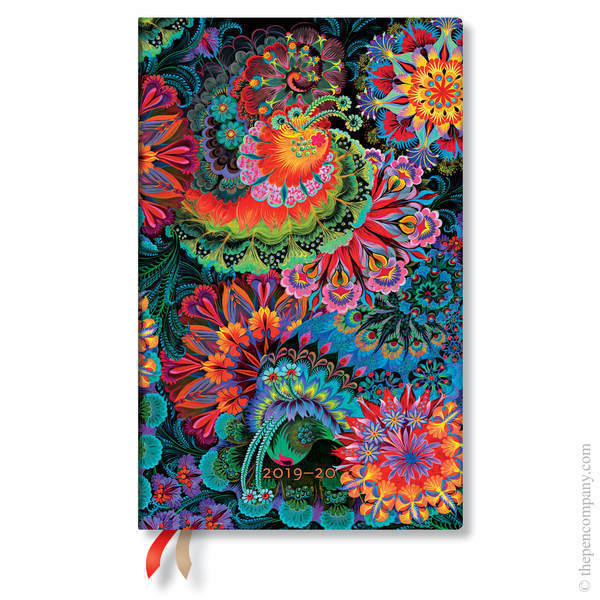 Maxi Paperblanks Olenas Garden Flexi 2019-2020 18 Month Diary Academic Diary Moonlight Vertical Week-to-View