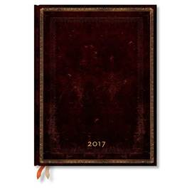 Paperblanks Ultra Day-at-a-Time Black Moroccan Old Leather 2017 Diary - 1