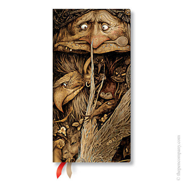 Slim Paperblanks Faerielands 2021 Diary 2021 Diary Mischievous Creatures Horizontal Week-to-View